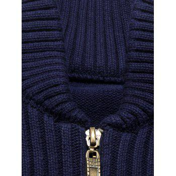 Ribbed Single Stripe Zip Up Cardigan - CADETBLUE L