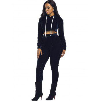 Velvet Cropped Hoodie and Pants Suit - XL XL