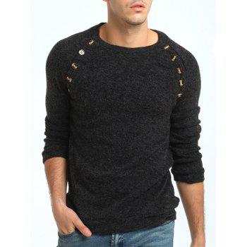 Raglan Sleeve Buttons Embellished Sweater - DEEP GRAY M