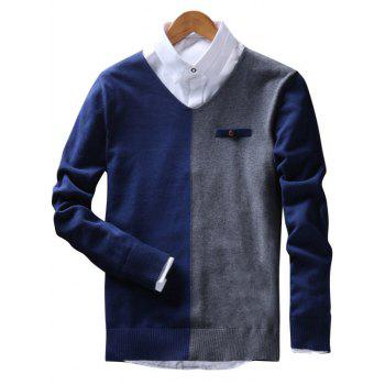 Faux Pocket Two Tone V Neck Sweater - ROYAL ROYAL