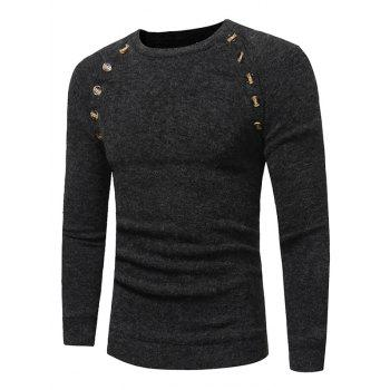 Raglan Sleeve Buttons Embellished Sweater - DEEP GRAY L