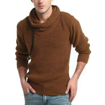 Drawstring Cowl Neck Pullover Sweater - CAMEL L