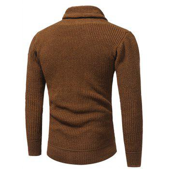 Drawstring Cowl Neck Pullover Sweater - CAMEL XL