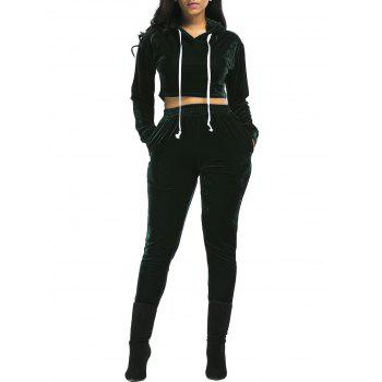 Velvet Cropped Hoodie and Pants Suit - BLACKISH GREEN BLACKISH GREEN
