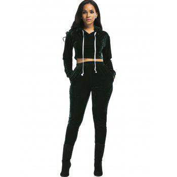 Velvet Cropped Hoodie and Pants Suit - BLACKISH GREEN M