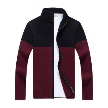 Ribbed Color Block Zip-front Cardigan - WINE RED XL