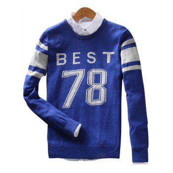Crew Neck Stripe Best 78 Pattern Sweater - BLUE 3XL