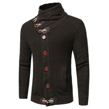 Cowl Neck Single Breasted Horn Button Cardigan - DEEP GRAY L