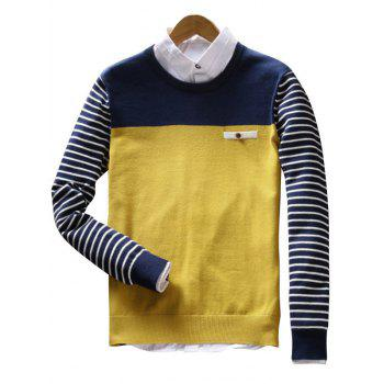 Color Block Faux Pocket Stripe Sweater - YELLOW YELLOW