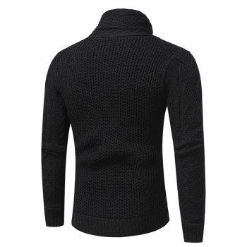 Cowl Neck Single Breasted Horn Button Cardigan - L L