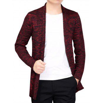 Open Front Long Cardigan - RED L