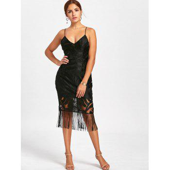 Lace Backless Fringe Cami Dress - BLACK M