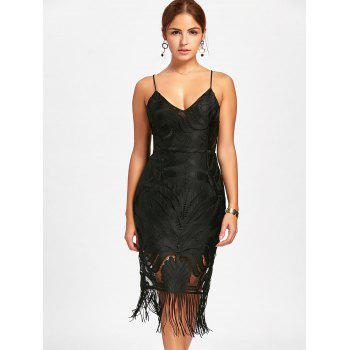 Lace Backless Fringe Cami Dress - BLACK BLACK