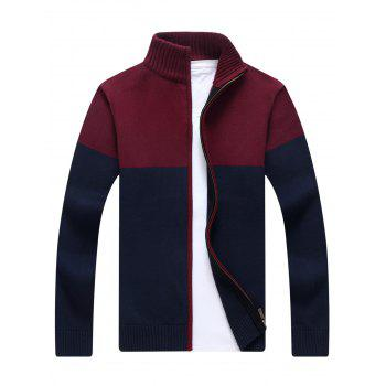 Ribbed Color Block Zip-front Cardigan - BLUE M