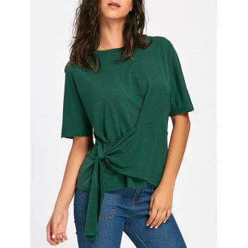 Batwing Sleeve Asymmetrical Front Tie T-shirt - BLACKISH GREEN S