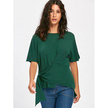 Batwing Sleeve Asymmetrical Front Tie T-shirt - BLACKISH GREEN XL
