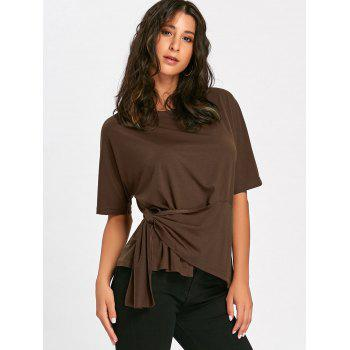 Batwing Sleeve Asymmetrical Front Tie T-shirt - BROWN BROWN