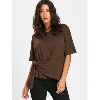 Batwing Sleeve Asymmetrical Front Tie T-shirt - M M