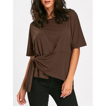 Batwing Sleeve Asymmetrical Front Tie T-shirt - BROWN M