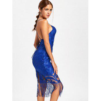 Lace Backless Fringe Cami Dress - BLUE L