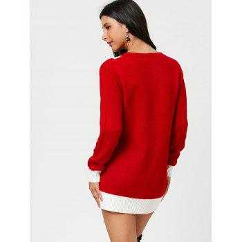 Christmas Mini Belted Pattern Sweater Dress - RED RED