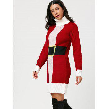 Christmas Belted Pattern Turtleneck Sweater Dress - ONE SIZE ONE SIZE