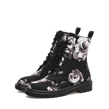 Floral Stitching Lace Up Boots - BLACK 39