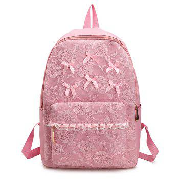 Bow Ribbon Lace Backpack - PINK PINK