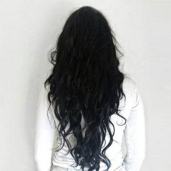 Long Side Parting Fluffy Natural Wave Synthetic Wig -  BLACK