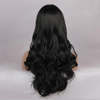 Middle Parting Long Wavy Capless Synthetic Wig - JET BLACK  JET BLACK