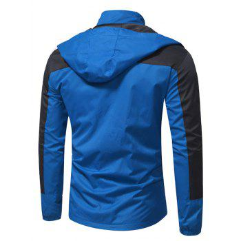 Hooded Color Block Zip Up Technical Jacket - BLUE M