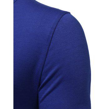 PU Leather Horn Button Long Sleeve T-shirt - ROYAL M