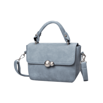 Stitching Metal Tote Bag -  LAKE BLUE