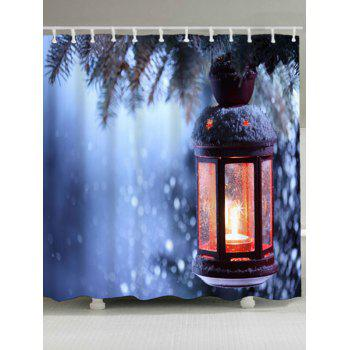 Christmas Candle Waterproof Shower Curtain - BLUE W71 INCH * L71 INCH