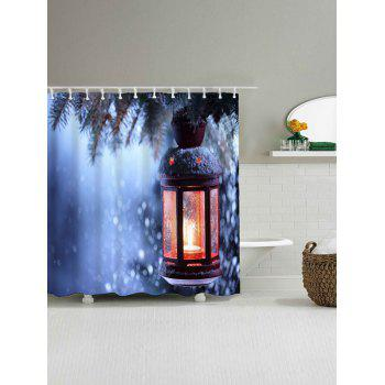 Christmas Candle Waterproof Shower Curtain - BLUE W71 INCH * L79 INCH