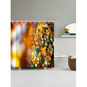 Christmas Tree Bowknot Waterproof Shower Curtain - GOLDEN GOLDEN