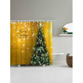 Christmas Tree Waterproof Bath Curtain - GOLDEN W71 INCH * L71 INCH