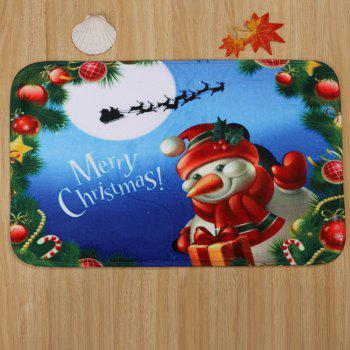 3Pcs Christmas Snowman Bath Toilet Mats Set - BLUE
