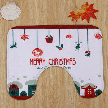 3Pcs Christmas Decorative Bath Toilet Rugs Set -  WHITE