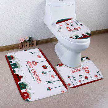 3Pcs Christmas Decorative Bath Toilet Rugs Set - WHITE WHITE