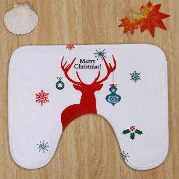 3Pcs Christmas Reindeer Print Bath Toilet Rugs Set -  WHITE