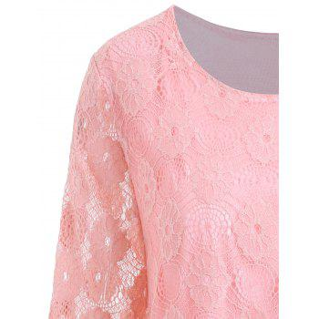 Plus Size Floral Lace Panel Longline Blouse - PINK PINK
