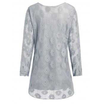 Plus Size Floral Lace Panel Longline Blouse - GRAY 5XL