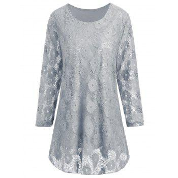 Plus Size Floral Lace Panel Longline Blouse - GRAY GRAY