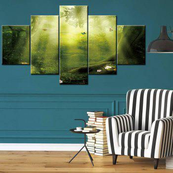 Sunshine Forest Print Split Canvas Peintures murales d'art - GREEN 1PC:12*31,2PCS:12*16,2PCS:12*24 INCH( NO FRAME )