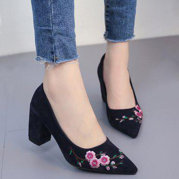 Pointed Toe Chunky Embroidery Flower Pumps - BLUE 36