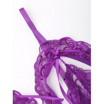 Sheer Cut Out Teddy with Lace - PURPLE PURPLE