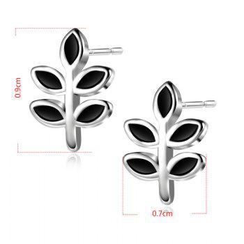 Sterling Silver Leaf Stud Tiny Earrings - SILVER