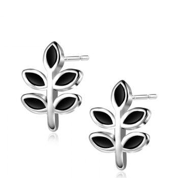 Sterling Silver Leaf Stud Tiny Earrings - SILVER SILVER