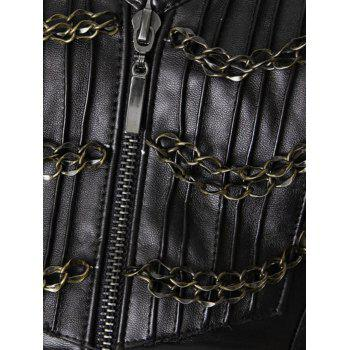 Top Corset Faux Leather Steampunk - Brun Foncé M